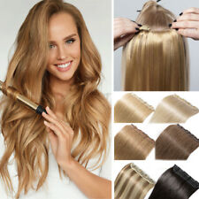 Invisible One Piece 5Clips Clip in Full Head Thick Remy Human Hair Extensions US