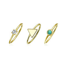 Reconstituted Synthetic Turquoise Modern Midi Ring Set Gold Plated Silver