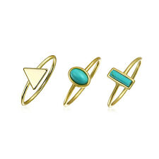 Reconstituted Synthetic Turquoise Modern Midi Rings Set Gold Plated Silver
