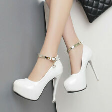 Womens High Heel Platform Round Toe Patent Leather Shoes Ankle Strap Party Pumps