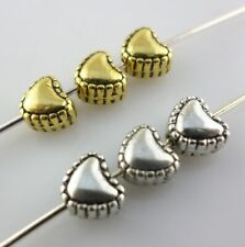 40/120pcs Tibetan Gold/Silver Love Heart Charm Loose Spacer Beads Fit Jewelry