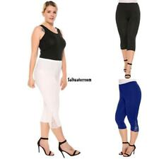 Women Casual Lace Solid Natural Elastic Waist Cropped Pants TXGT