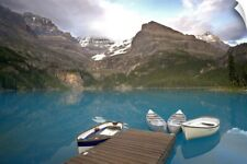 Wall Decal entitled Canada, BC, Yoho National Park. Boats moored at a dock on