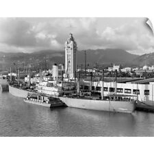 Wall Decal entitled 1930's Ship Freighter At Dock By Aloha Tower Built 1926 Port