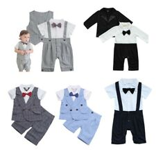 Baby Boys Gentleman Romper Jumpsuit Bodysuit Outfits Formal Clothes Wedding Suit