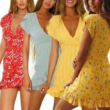 Women Deep V Neck Ruffle Waist Tie Dress Casual Floral Print Beach Party Dress