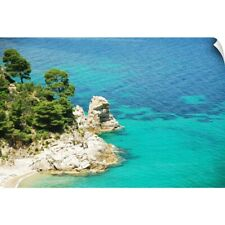Wall Decal entitled Rock cliffs and Mediterranean pine trees on coast of