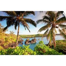 Wall Decal entitled Palm trees and coastline, wainapanapa state park at sunrise