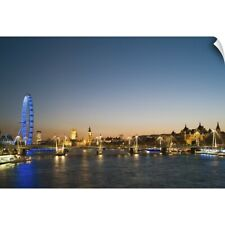 Wall Decal entitled London, view along River Thames towards Houses of Parliament