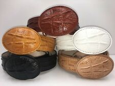 LEATHER BELT CROCODILE ALLIGATOR HEAD CUT DESIGN EMBOSSED GENUINE LEATHER BELT--