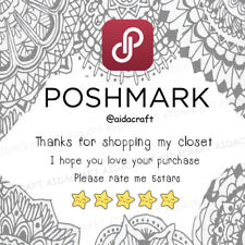 Personalised Poshmark Thank you for your purchase stickers labels 5 stars 100PC