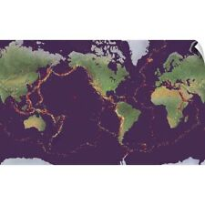 Wall Decal entitled Earth's volcanoes and earthquakes