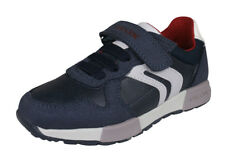 Geox J Alfier B.C Boys Leather Sneakers Casual Shoes Lace-Up Strap Navy