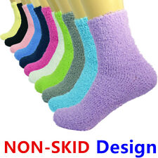 Lot 3-10 Pairs For Womens Soft Cozy Fuzzy Socks Non-Skid Solid Home Warm Slipper