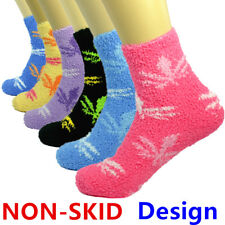 For Womens Lot 3-10 Pairs Soft Cozy Fuzzy Socks Maple W/ Non-Skid Solid Slipper
