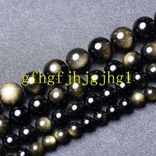 """AAA 4mm-18mm Natural Gold Obsidian Round Loose Beads 15"""" Strand"""