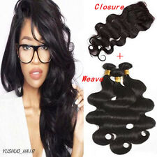"Brazilian Body Wave 3Bundles 7A Virgin Unprocessed Human Hair with 4""x4"" Closure"