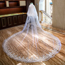 White/Ivory Wedding Veil 3 M 2 T Cathedral Bridal Lace Applique Beading Custom