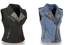 Milwaukee Leather Women's Zipper Front Denim Vest Studded Spikes  MDL4030