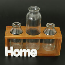 2/3/5 Terrariums Planter with Wooden Stand Glass Vase Hydroponic Container