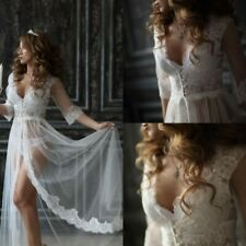 Cheap Sexy Beach Wedding Dresses For Video Lace Tulle Half Sleeves Custom NEW