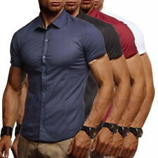 Men Casual Button Down Short Sleeve Casual Slim Fit Shirts Solid Dress Shirt 34