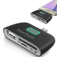 4 in 1 OTG/TF/SD Smart Type-C Card Reader Adapter Micro USB Charge Ports FF