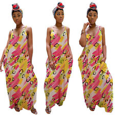 Women Colorful Print V Neck Spaghetti Strap Loose Casual Summer Club Long Dress