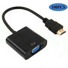 100PCS 1080P HDMI Male to VGA Female Video Cable Cord Converter Adapter For PC