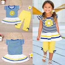 Toddler Kids Girls Fashion Outfits T-shirt Tops+Shorts Pants Summer Clothes Set