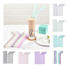 10Pcs Reusable Straw Silicone Drinking Straws Washable w/Cleaning Brush Gift