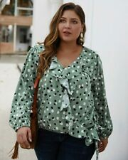 Pullover Casual Blouse Top V Neck Ladies Floral Plus Size Long Sleeve T-Shirt