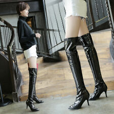 Sexy Women Stilettos Heel Zip Shoes Pointy Toe Over Knee High Thigh Boots 34-48