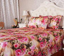 3 PCS 16MM 100% SILK SATIN PRINTED FLAT SHEETS & PILLOW CASES COVER SET ALL SIZE