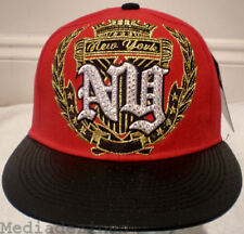 NEW RED HIP HOP KING BLING FITTED PEAK BASEBALL HAT CAP