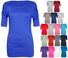 NEW LADIES RUCHED SHORT SLEEVE WOMENS LONG STRETCH TOP