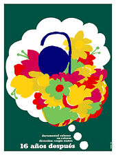 680.Cuban Poster,16 años despues.Flower Bouquet. Decor.Powerful Graphic Design.