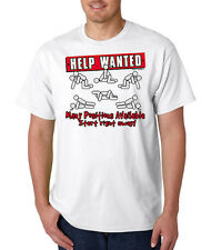Help Wanted Sex Positions Funny 100% Cotton Tee Shirt