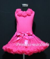 Hot Pink Pettiskirt Hot Pink Top and Hot Pink Rose 1-8Y