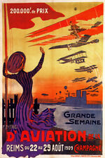 1909 AIRPLANE PLANE RACE AVIATION MEETING CHAMPAGNE FRENCH VINTAGE POSTER REPRO