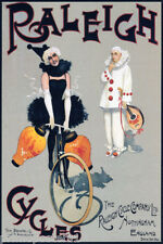 BICYCLE RALEIGH CYCLES PIERROT COLUMBINE ENGLAND NOTTINGHAM VINTAGE POSTER REPRO