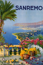 ITALY VINT ITALIAN SAN REMO FLOWERS LAKE REPRO POSTER