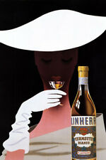 VERMOUTH BIANCO MARTINI DRINK FASHION LADY WHITE HAT ITALY VINTAGE POSTER REPRO