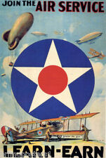 WAR JOIN THE AIR SERVICE FLY LEARN EARN UNITED STATES ARMY VINTAGE POSTER REPRO