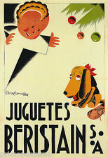 JUGUETES BERISTAIN TOYS CHRISTMAS GIFT BOY DOG KIDS FRENCH VINTAGE POSTER REPRO