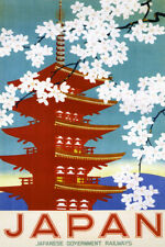 JAPAN CHERRY BLOSSOM SPRING FLOWERS TREE TRAVEL TOURISM VINTAGE POSTER REPRO