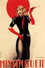 MISTINGUETT FRENCH ACTRESS SINGER BLACK DRESS RED HAT VINTAGE POSTER REPRO