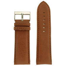 Wide Watch Band Genuine Leather Calfskin Brown