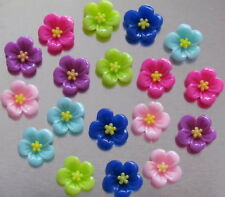 20 RESIN CABOCHONS 12MM FLOWER PINK/PURPLE/RED MIX - MF