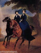 MOTHER DAUGHTER HORSEBACK BRULLOW REPRO PAPER CANVAS